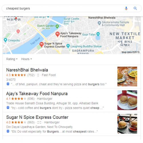 Google Search Results - cheapest burgers